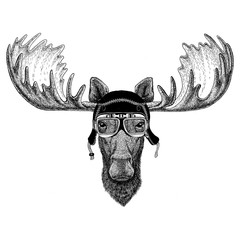 Vintage images of elk or moose for t-shirt design for motorcycle, bike, motorbike, scooter club, aero club