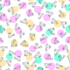 Spring background. Vector seamless pattern with hand drawn doodle birds and color rounds. Cute childish background. Pastel colors - pink, yellow, green, white.