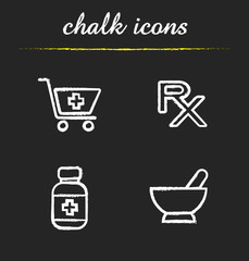 Pharmacy chalk icons set