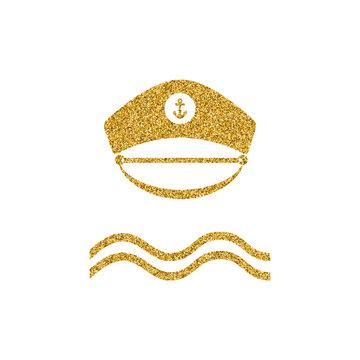 Gold glitter design element. Maritime theme. Vector illustration.