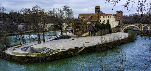 Tiberina Island on the Tiber River, Rome Italy