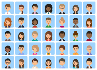 Avatars men and women. Icons faces female, male. Cartoon characters flat people isolated on blue background. Vector illustration.