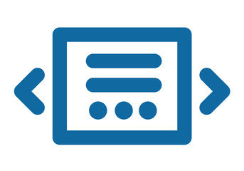 Slider icon. Blue laconic and simple. Part of the site interface