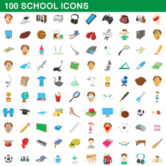 100 school set, cartoon style