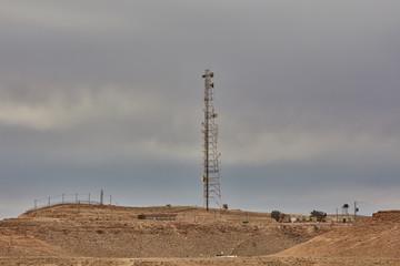 Mitzpe Ramon, 02 December 2016: Cellular antenna at the Negev desert, Israel