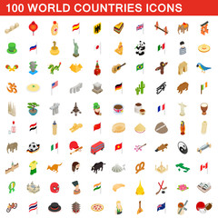 100 World countries icons set, isometric 3d style