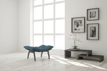 White modern room with chair. Scandinavian interior design. 3D illustration