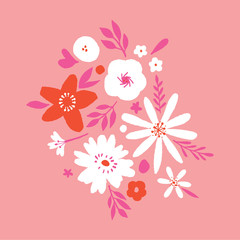 Hand drawn flower pattern modern