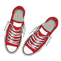 Beautiful sneakers. Vector illustration for a picture or poster. Youth shoes. Sports, running and walking.