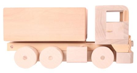 Wooden handmade toy truck