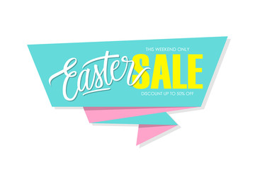 Easter Sale banner with handwritten element. This weekend only, discount up to 50% off. Banner for business, promotion and advertising. Vector illustration.