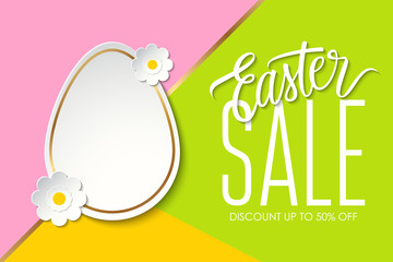 Easter Sale special offer banner wit easter egg, flowers and handwritten text design on color background for business, promotion and advertising. Vector illustration.