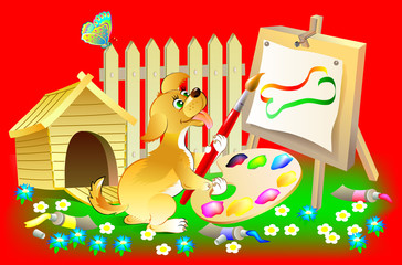 Illustration of happy little puppy painting the picture, vector cartoon image.