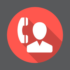 User and phone, contact flat icon. Round colorful button, circular vector sign with long shadow effect. Flat style design