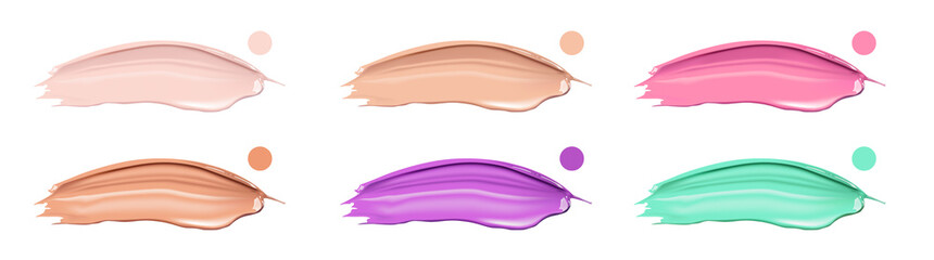 Different smears of lipstick, foundation or cream in different colours on white background. Beauty and cosmetics elements for flyer, banner, leaflet, web-site.