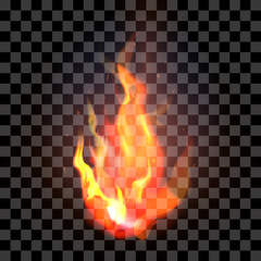Isolated realistic orange and red fire flame on a transparent ba