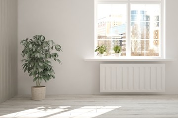 White empty room with flower and urban landscape in window. Scandinavian interior design. 3D illustration