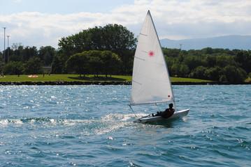 Sailor in Geneva Lake, Switzerland.