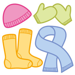Winter clothing comic icons - colorful cloths for cold weather - pink woolen cap, green mittens, orange socks and blue scarf. Isolated vector illustration on white background.
