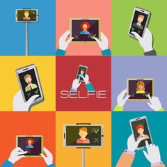 Taking Selfie Photo on Phone or Monopod concept.