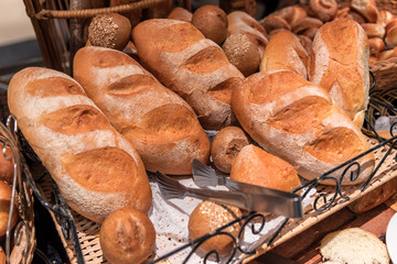 fresh buns and bread
