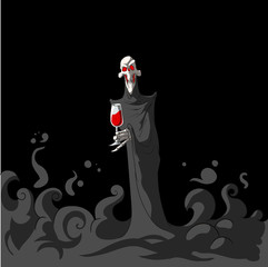 Colorful vector illustration of Death, the grim reaper,  holding a glass of red wine