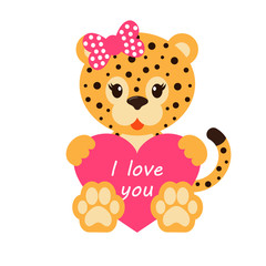 cartoon leopard with bow and heart