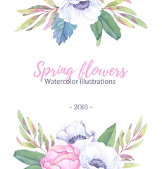 Hand drawn watercolor illustration. Wedding invitation/greeting card with leaves, peonies, anemones flowers. Watercolor ready to use card. Save the date.