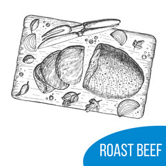 Roast beef sketch vector illustration. Engraved vintage image, hand drawn.