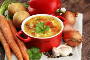 Barley and vegetable thick healthy soup. Krupnik thick Polish soup made from vegetable or broth, containing potatoes and barley groats