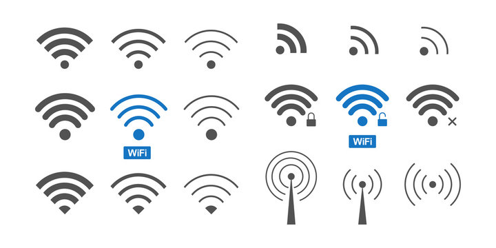 Set of  different wireless and wifi icons for design.
