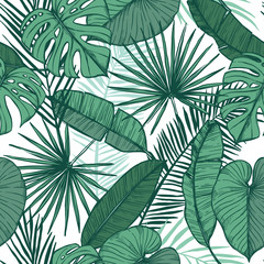 Hand drawn vector background - Palm leaves (monstera, areca palm, fan palm, banana leaves). Tropical seamless pattern. Perfect for prints, posters, invitations etc