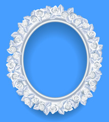 Round classic frame with white roses wreath on blue