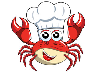 Happy Crab chef mascot cook hat isolated