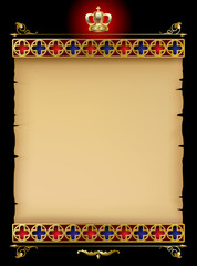 Old parchment with gold gothic ornament and vintage design elements