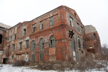 Abandoned sugar factory of red brick