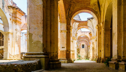 View of ruin of colonial church in Antigua - Guatemala