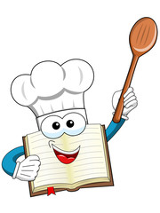 Cook book mascot wooden spoon isolated