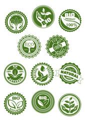 Eco green, natural, bio organic product symbol set