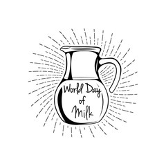 Natural Product Fresh Milk Product Promo Sign In Sketch Style With Glass Jug