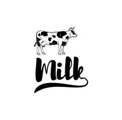 Farm poster with cow. Milk label. Vector