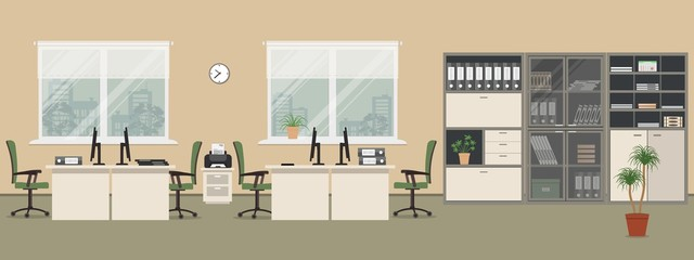 Office room in a beige color. There are white tables, green chairs, a printer, cabinets for documents and other objects in the picture. Vector flat illustration.