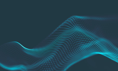 Fotobehang Fractal waves Abstract Blue Geometrical Background . Connection structure. Science background. Futuristic Technology HUD Element . Сonnecting dots and lines . Big data visualization and Business .