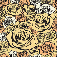 Light ivory roses seamless pattern. Abstract flowers vintage background texture. Vector illustration.