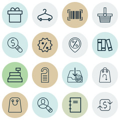 Set Of 16 Ecommerce Icons. Includes Tote Bag, Price, Till And Other Symbols. Beautiful Design Elements.