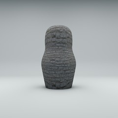 Russian matryoshka without texture 3D render