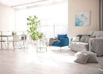 Modern interior of cozy living room