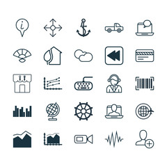 Set Of 25 Universal Editable Icons. Can Be Used For Web, Mobile And App Design. Includes Elements Such As Info Pointer, Video Camcorder, Heartbeat And More.