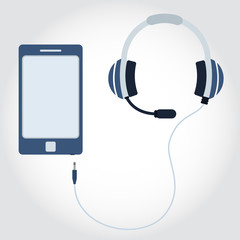 Phone and cable with headphone and microphone. Flat design. Empty space for insert text.