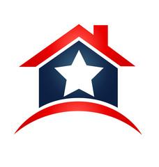 House USA star flag logo